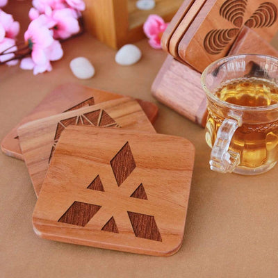Geometric Coasters - Wooden Coaster Set With Holder. Geometric Design Coasters Make Great Home Decor Gifts. Tea Coaster & Coffee Coaster For Your Table. Buy Coasters Online.