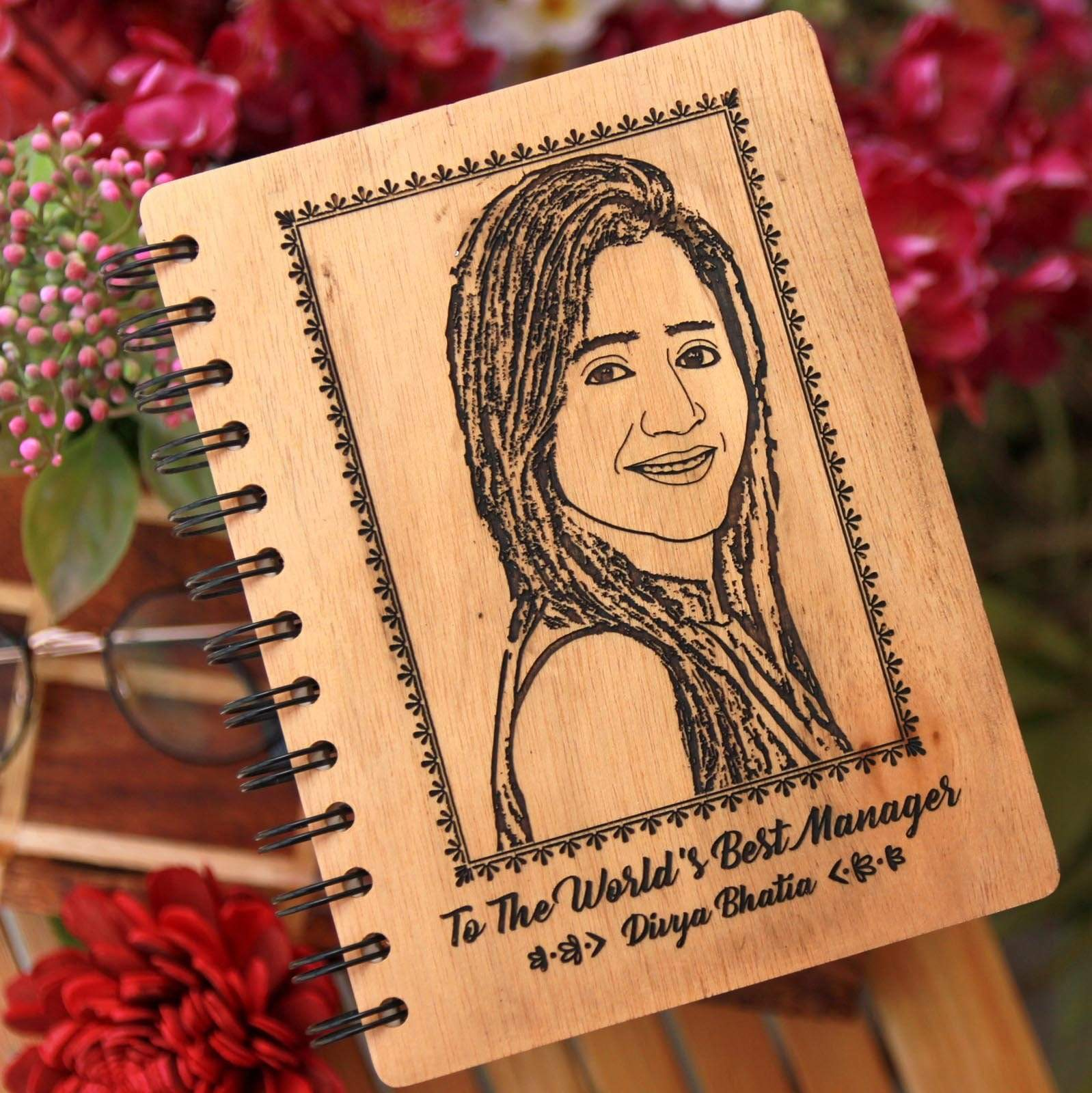 A personalised wooden notebook for the world's best manager. Personalised diary with photo makes good project manager gifts, birthday gift for manager or gift for manager for any occasion.