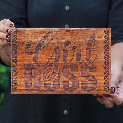 Girl Boss Wood Wall Poster | Wood Wall Hanging | Custom Wood Signs | Woodgeek Store
