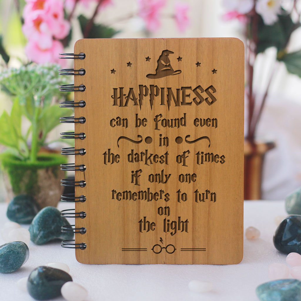 Harry Potter Notebook - Happiness Can Be Found In The Darkest Of Times - Bamboo Wood Notebook