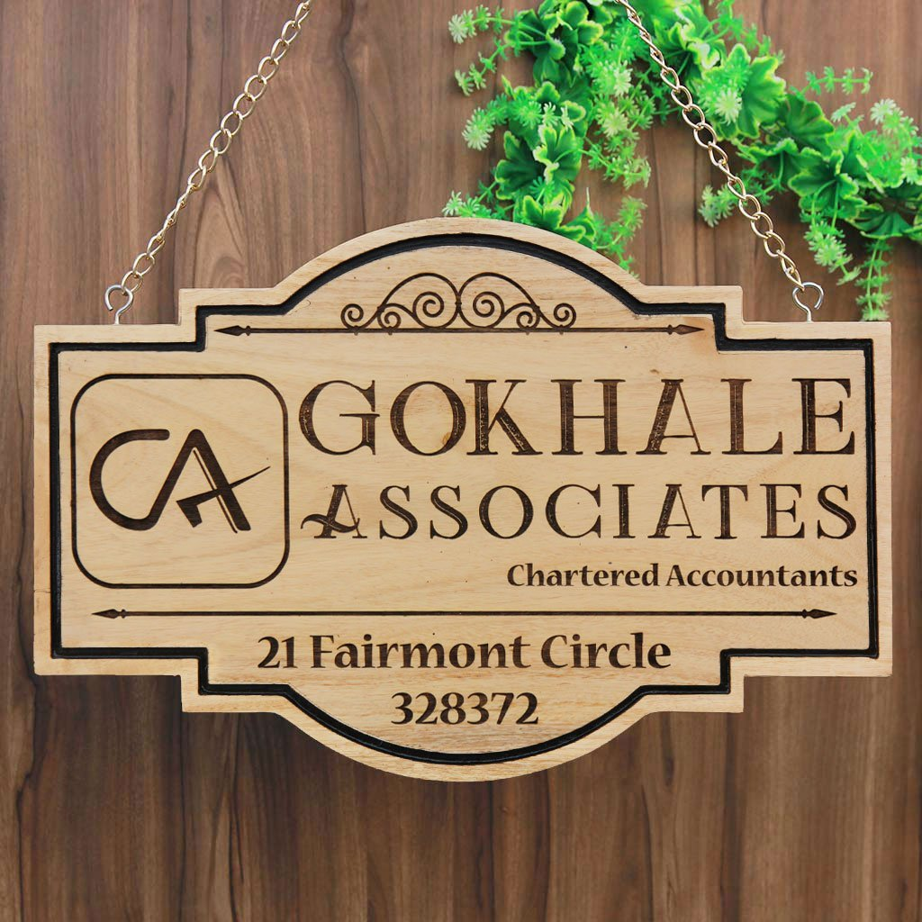 Business Sign For Chartered Accountants - This Hanging Name Plate for Accountants Is The Best Gift For Accountants - Shop More Business Signs And Shop Signs From The Woodgeek Store