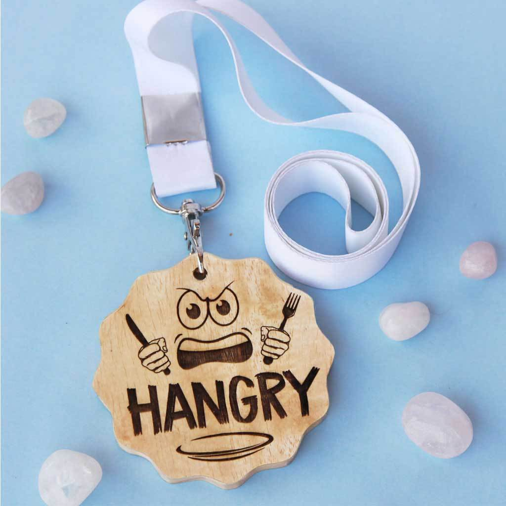 Hangry Wood Engraved Medal. This Custom Medal And Funny Award Makes The Best Gift For Food Lovers. This Medal Award Makes A Unique Gift Idea For All The Foodies.