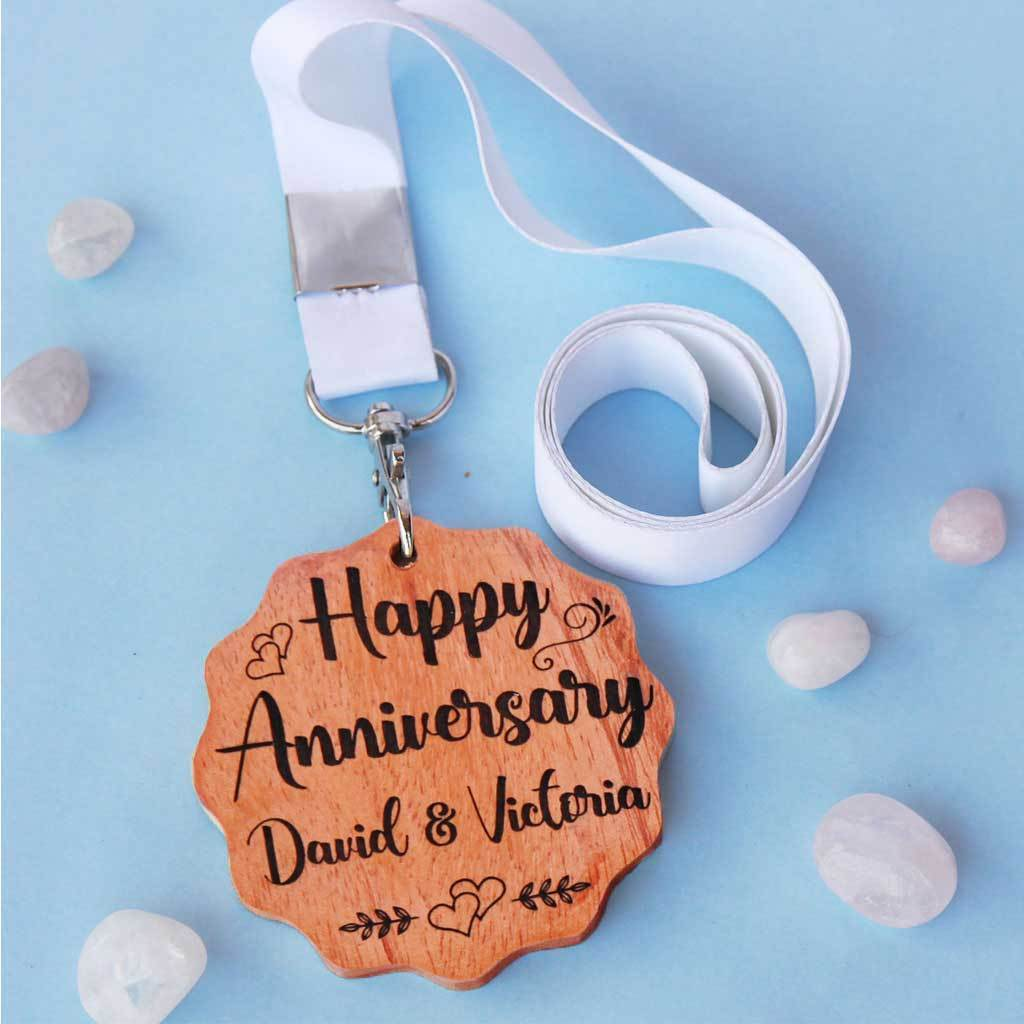 Happy Anniversary Wooden Medal With Ribbon. This Custom Medal Makes One Of The Best Personalized Love Gifts You Can Gift Your Partner. This Medal Of Love Makes A Great Anniversary Gift.