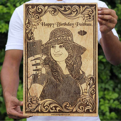 Personalized Birthday Gifts | Photo on Wood | Wooden Poster | Wood Wall Art | Woodgeek Store