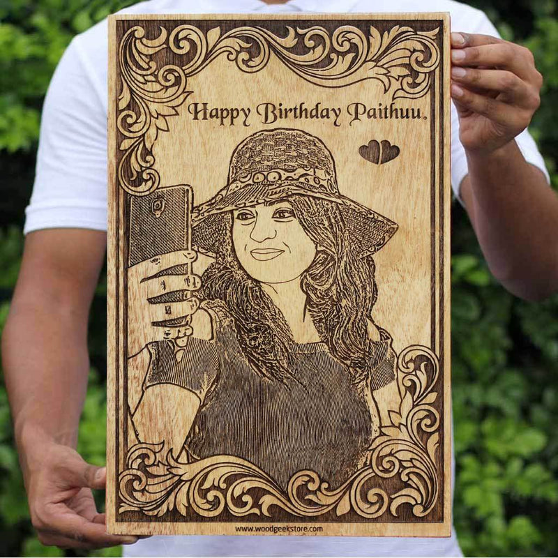Happy Birthday Custom Engraved Wooden Poster