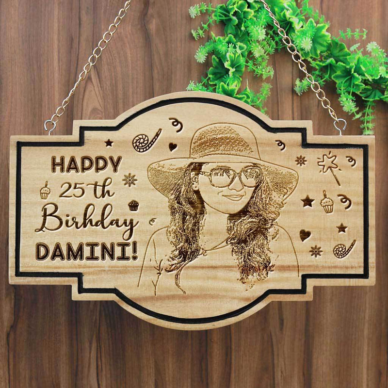 Personalized Happy Birthday Hanging Wood Sign - Happy Birthday Wishes Engraved On A Birthday Plaque. This is the best Personalised Birthday Gift. This Wood Carved Sign Is A Great Party Accessory.