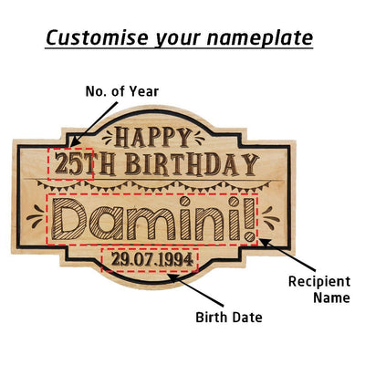 Personalized Happy Birthday Hanging Wood Sign - This Custom Nameplate Makes A Perfect Birthday Gift For Friends, Family & Loved Ones - This Wood Carved Sign Is A Great Party Accessory.