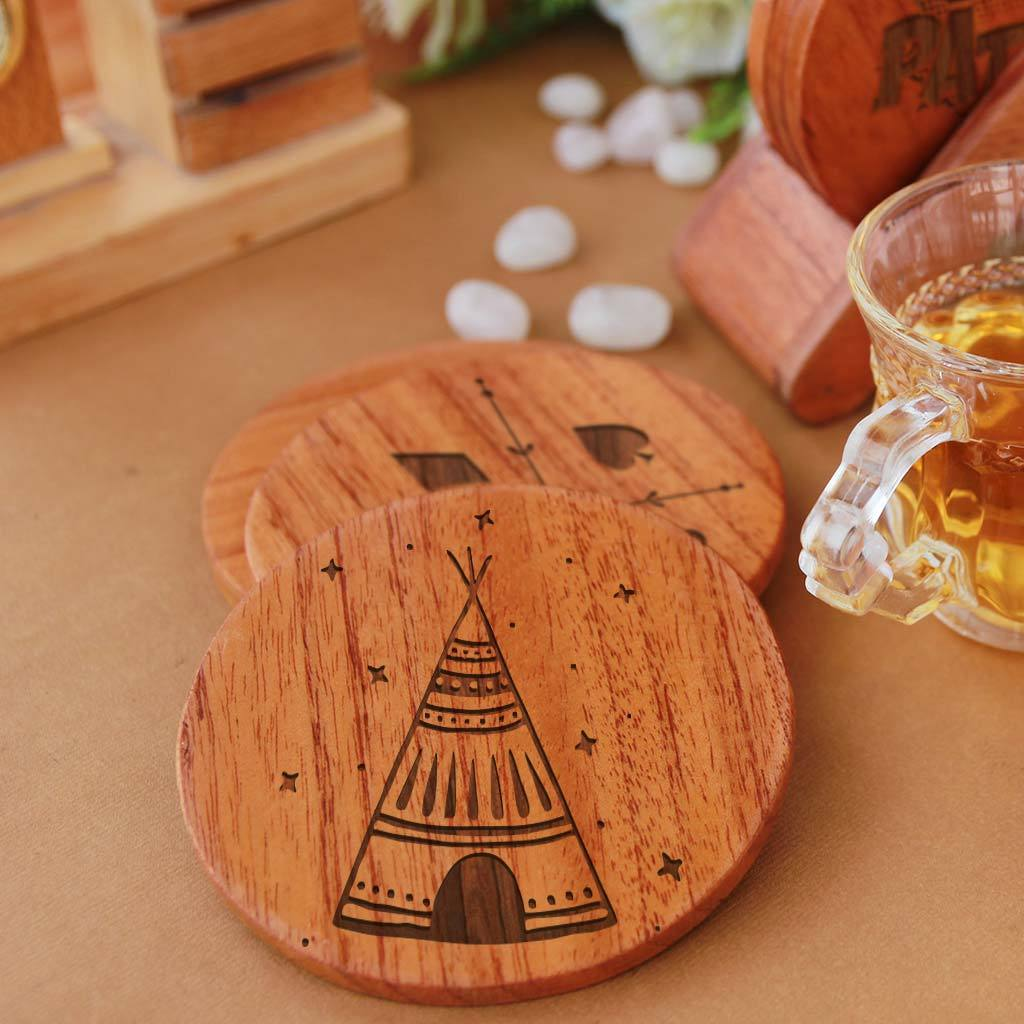 Diwali Coasters. Looking for Diwali gifts for family, diwali gifts for employees, corporate diwali gifts, diwali gifts for parents? These wooden coasters make useful diwali gifts and home decor gifts.