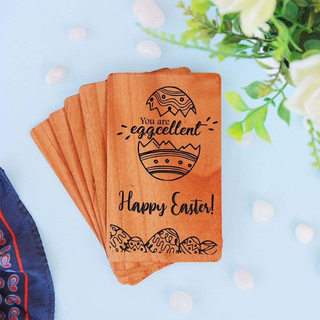 Happy Easter Cards. A Set Of Personalized Wooden Cards Engraved With Good Friday wishes or Happy Easter Sunday wishes
