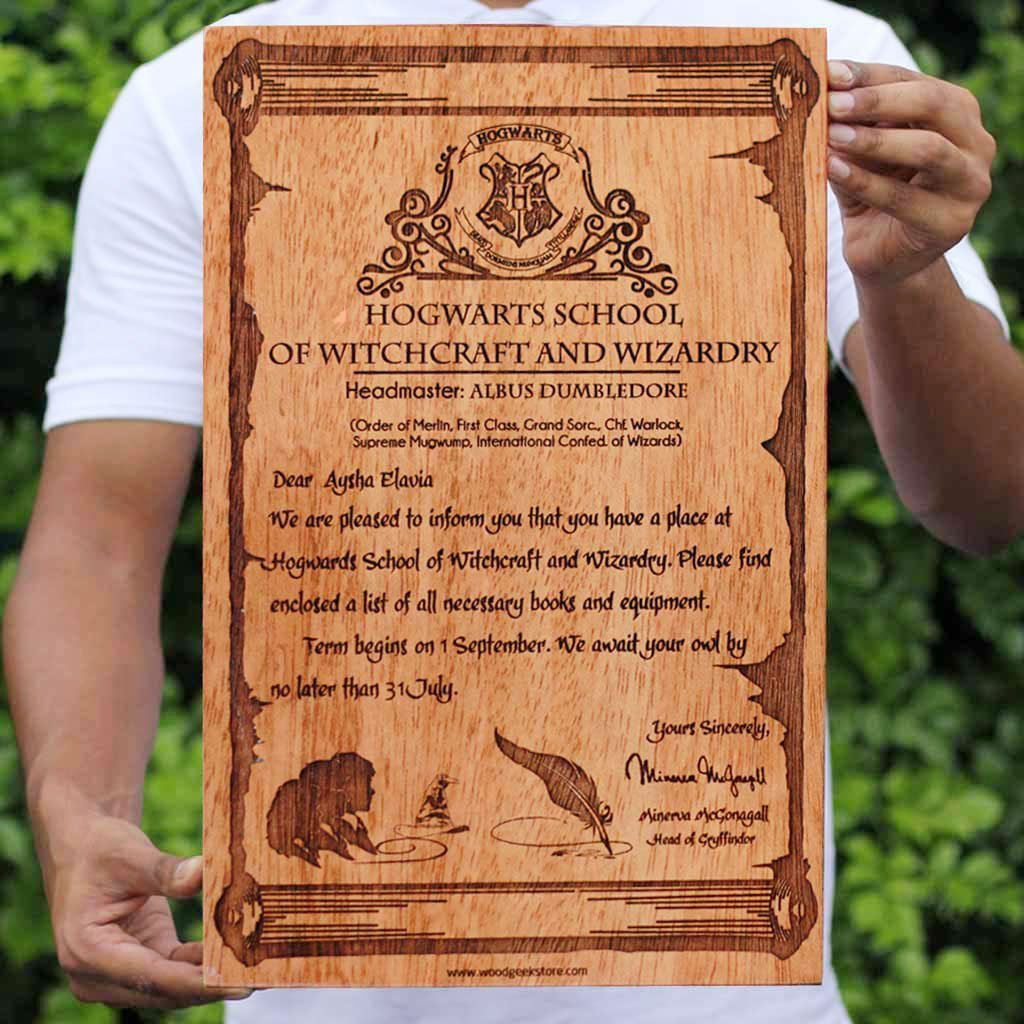 Harry Potter - Hogwarts Acceptance Letter - Carved Wooden Poster - Wood Wall Hanging - Woodgeek Store