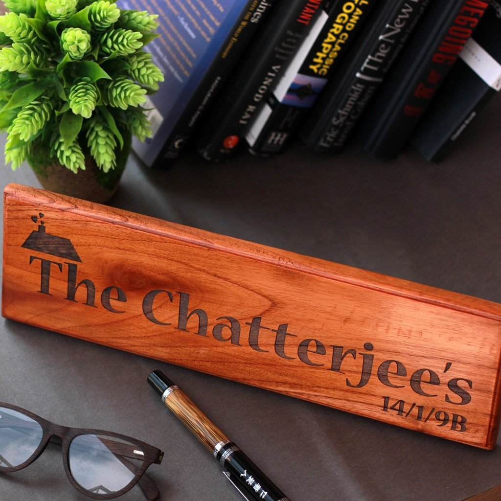 Family Name Signs - Wooden Nameplates for Home - Personalized Desk Name Plate - Wooden House Number Signs - Personalized Nameplates by Woodgeek Store