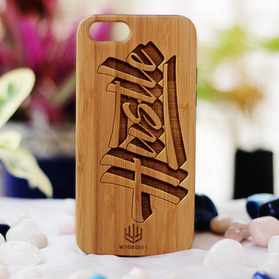 Hustle Wood Phone Case - Bamboo Phone Case - Engraved Phone Case - Fun Wood Phone Cases - Inspirational Wood Phone Covers - Woodgeek Store