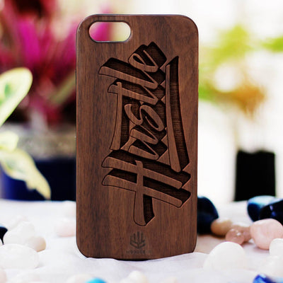 Hustle Wood Phone Case - Walnut Wood Phone Case - Engraved Phone Case - Fun Wood Phone Cases - Inspirational Wood Phone Covers - Woodgeek Store