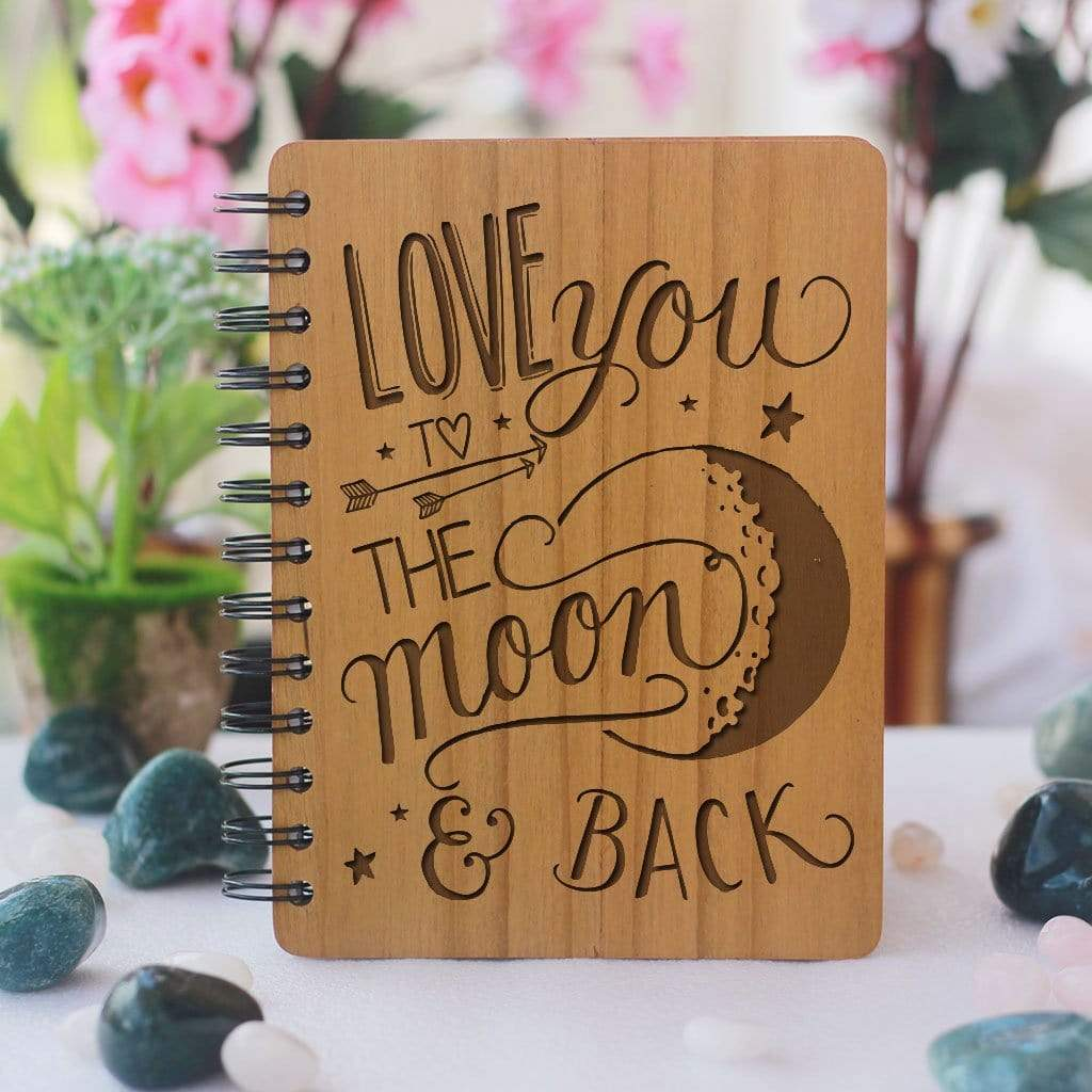 I love you to the moon and back - Personalized Wooden Notebook