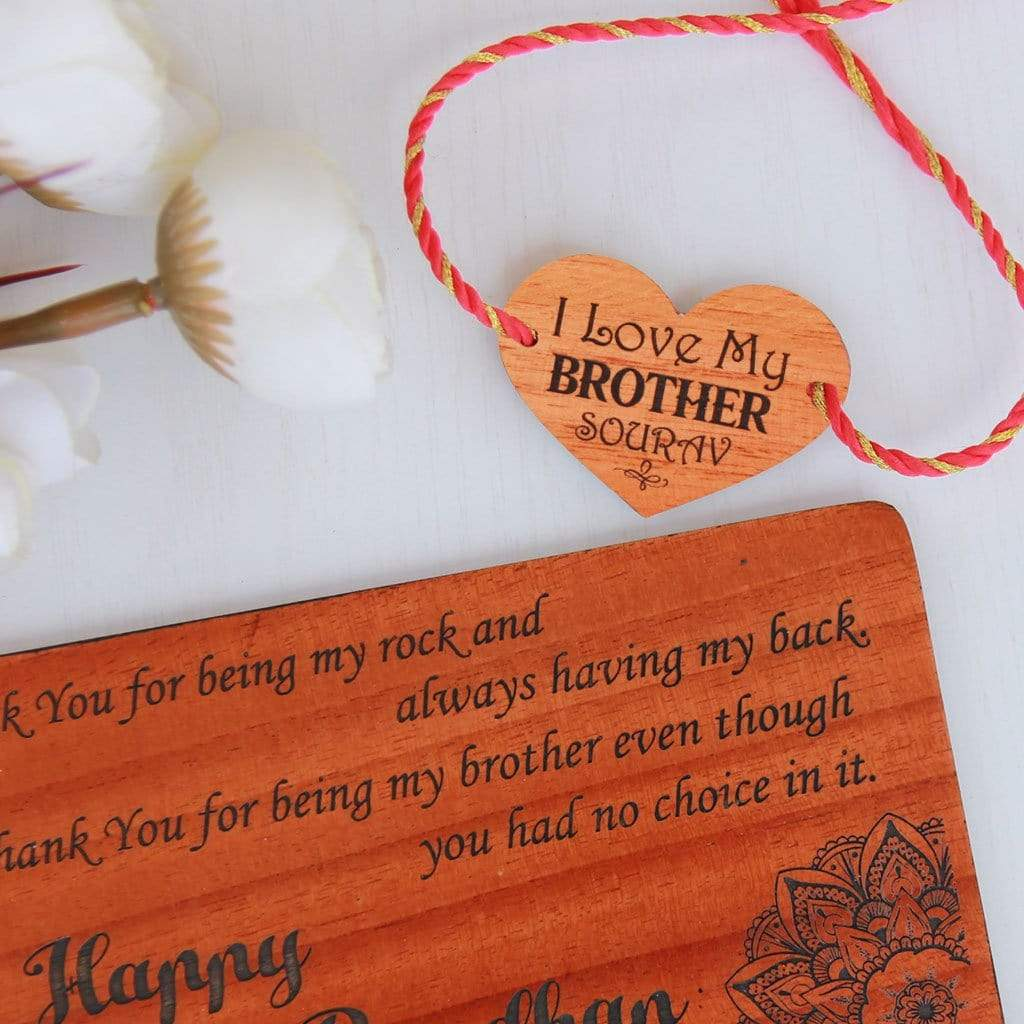 I Love My Brother Wooden Rakhi and Greeting Card. A Personalised Rakhi Engraved With Name and Rakhsha Bandhan Wishes Engraved On Greeting Card. Send Rakhi Online In India with Woodgeek Store