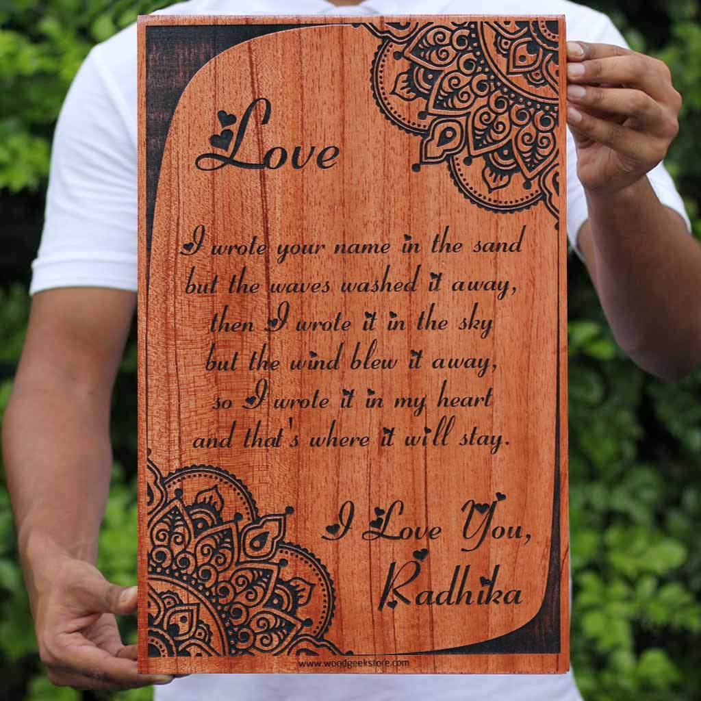 Love Saying Engraved On Wood - I wrote your name in the sand - Personalized Wood Carved Letter by Woodgeek Store