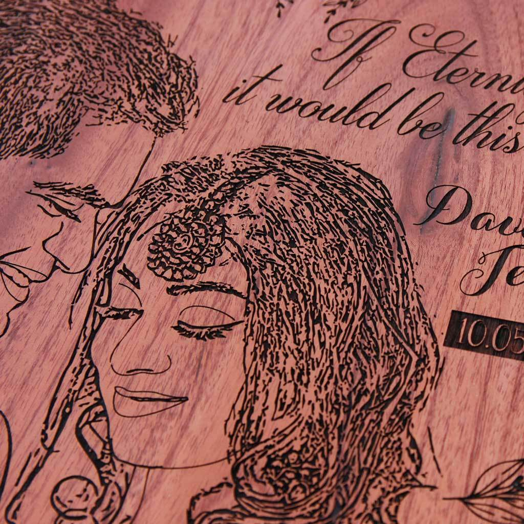 If Eternity Exists, It Would Be This Moment Heart Wood Poster - A Couple Photo Frame In Mahogany Wood Or Birch Wood. This Wood Engraved Photo Makes The Best Wedding Gifts & Anniversary Gifts - Buy Unique Romantic Gifts And Engrave Photo On Wood At The Woodgeek Store