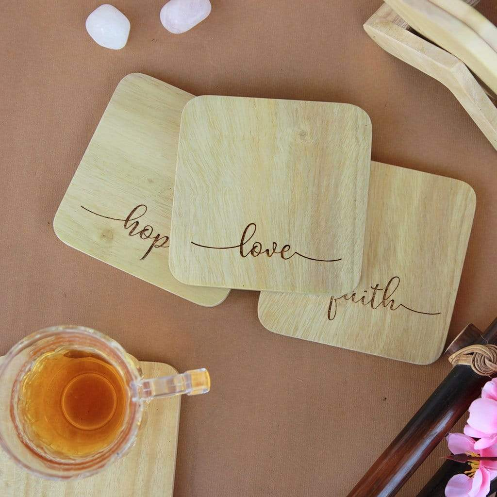 Inspirational Coasters. Love Hope Faith Coasters. Wooden Coaster Set. Best Inspirational Gifts and Home Decor Gifts. Looking for housewarming gifts? These tea coasters and coffee coasters are the best gifts. Buy Coasters Online at Woodgeek Store.