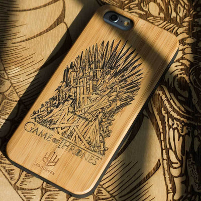Game of Thrones: Iron Throne Wood Phone Case - Bamboo Wood Phone Case - Engraved Phone Case - Wood Phone Cases - Inspirational Wood Phone Covers - Woodgeek Store