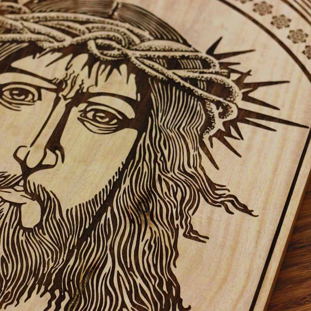 Jesus Christ in The Crown of Thorns Carved Wooden Poster by Woodgeek Store - Passion of Christ Wooden Artwork - Religious & Spiritual Wood Wall Hanging - Buy Wood Wall Art Decor Online