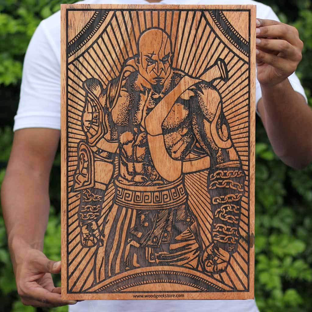 Kratos Poster - God of War Wooden Poster - Pop Culture Wall Poster by Woodgeek Store