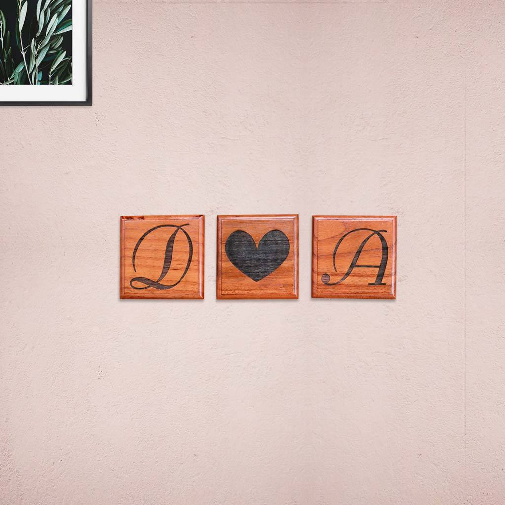 Crossword Wall Art - Wooden Tiles With Letters On Them - Wooden Letter Pieces Personalised With Your Initials - Woodgeek Store
