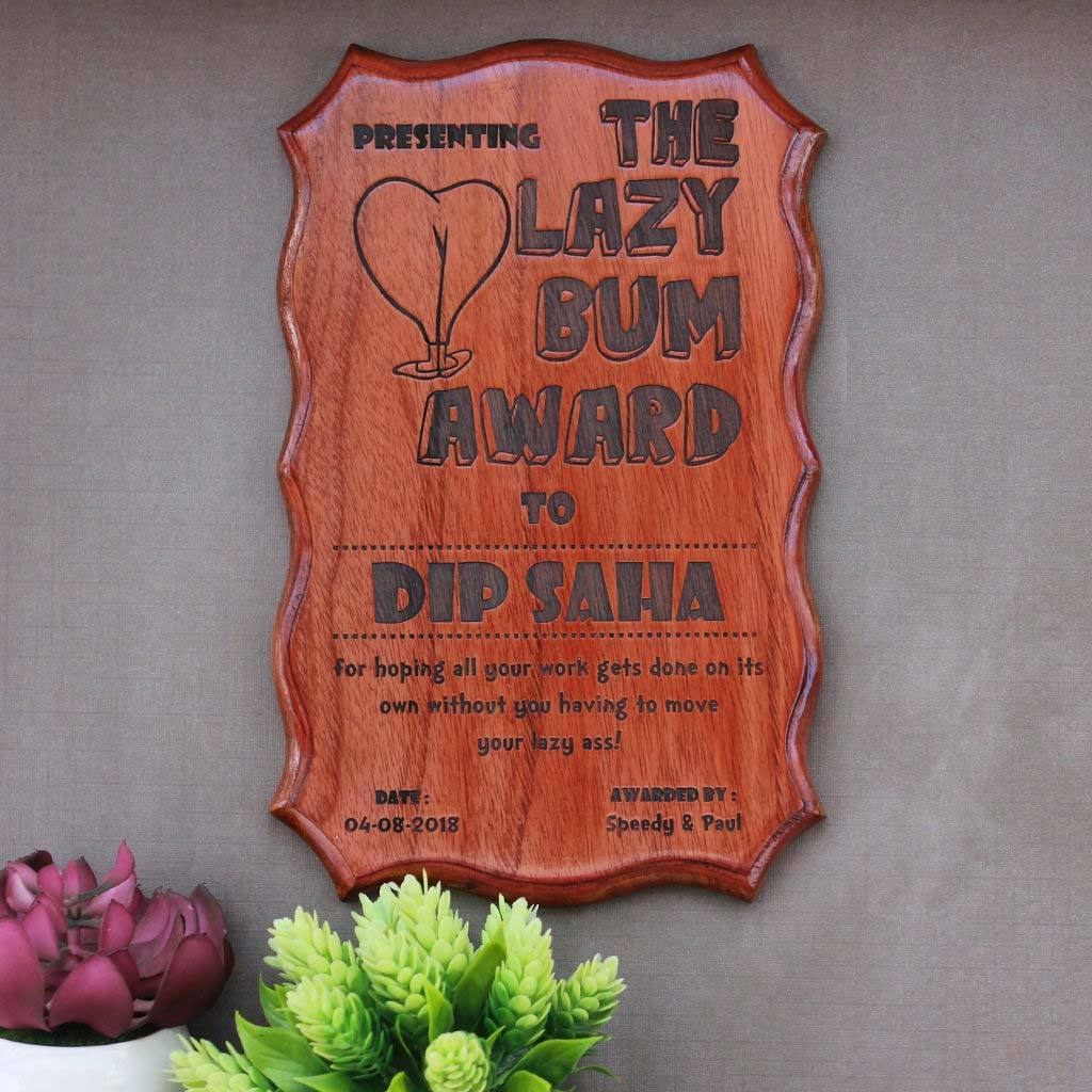 Award for the laziest person - Funny Awards & Certificates - Humorous Certificates of Appreciation -  Funny Employee Awards - Funny Certificates for Friends - Woodgeek Store