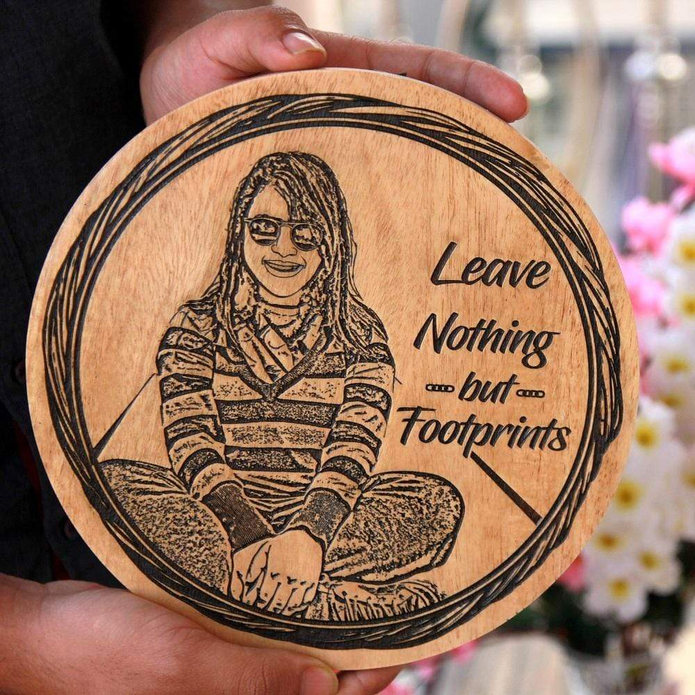Leave Nothing But Footprints Wooden Poster. This Wood Engraved Photo And Photo On Wood Is The Best Gifts For Travelers.