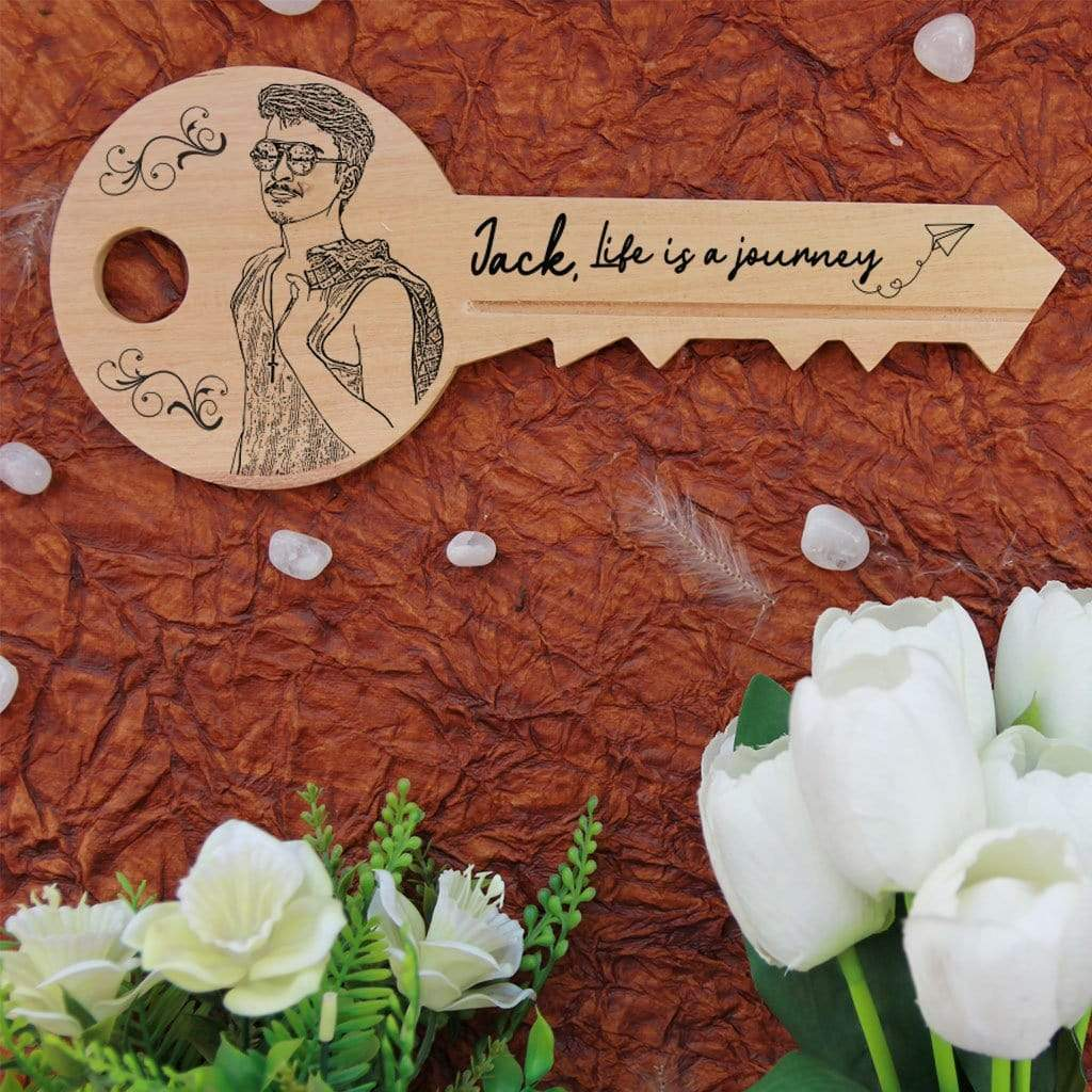 Life Is A Journey And Only You Hold The Key To It Wooden Plaque. Key-Shaped Wooden Signs Engraved With Inspirational Quotes. This Custom Wood Sign Makes A Great Personalized Gift and Photo Gift. This Wood Sign makes great inspirational gifts for friends