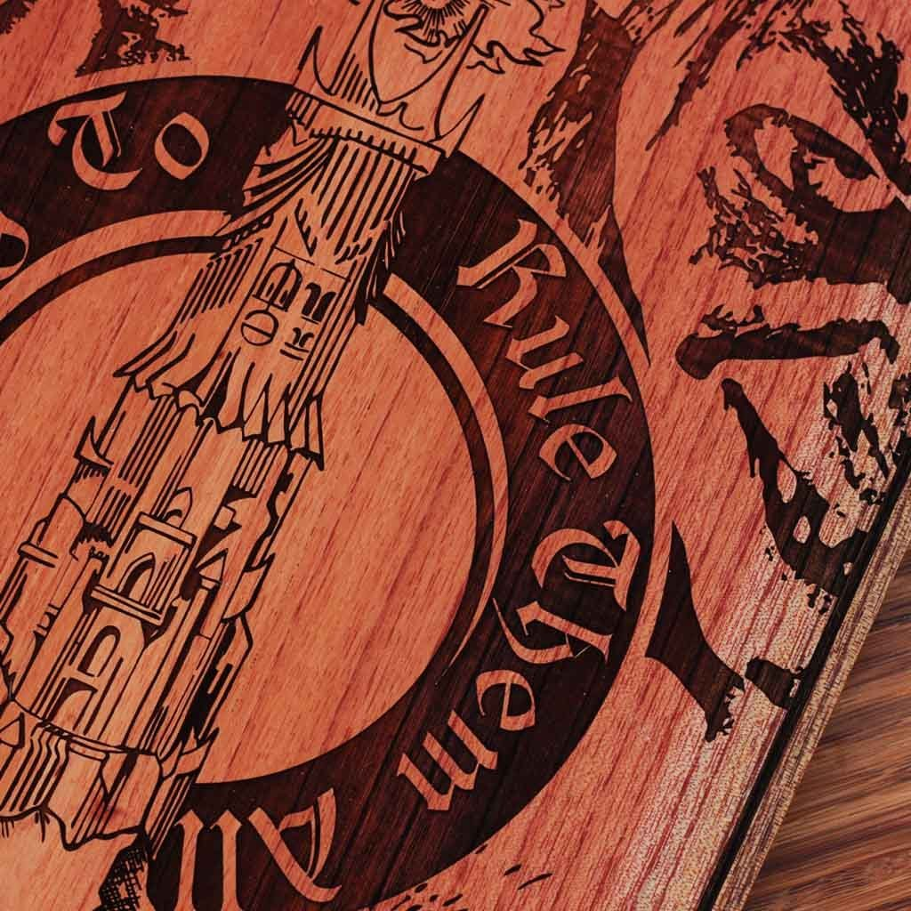 Lord of The Rings Carved Wooden Poster by Woodgeek Store - Tolkien One Ring Wood Art - Character Art Wooden Artwork - Movie Wood Wall Art Decor Online