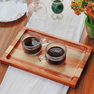 Mahogany And Birch Striped Wooden Tray - Wooden Serving Tray - Coffee Serving Tray - Bar & Cocktail Tray - Wooden Tea Tray - Wooden Food Trays - Small Wooden Tray - Decorative Wooden Serving Trays - Bed Serving Tray - Large Serving Tray - Rectangular Serving Tray - Kitchen Decor - Wooden Kitchen Accessories - Woodgeek Store