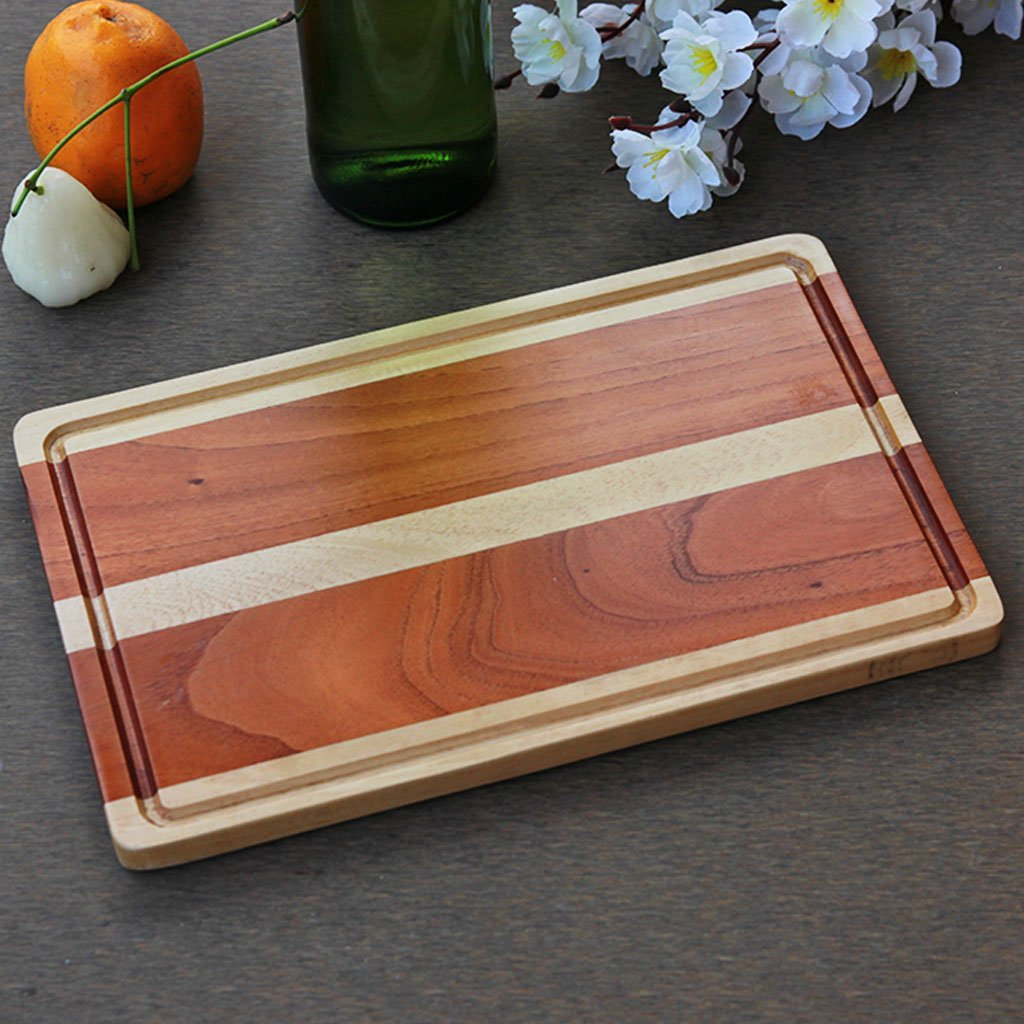 Mahogany and Birch Striped Wooden Chopping Board - Wood Cutting Boards - Wood Chopping Block - Butcher Block Wood - Kitchen Cutting Board - Mahogany and Birch Chopping Board - Best Chopping Board - Hardwood Cutting Boards - Woodgeek Store