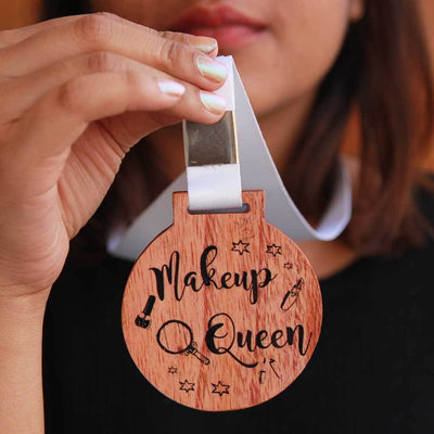 Makeup Queen Funny Medal with Ribbon. These Medals Make The Best Gifts For Makeup Lovers. A Cool Award For Any Woman Who Adores Beauty And Makeup.