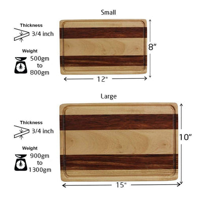 Measurements for Juice Groove To Avoid Spillage - Birch & Walnut Striped Wooden Chopping Board - Woodgeek Store