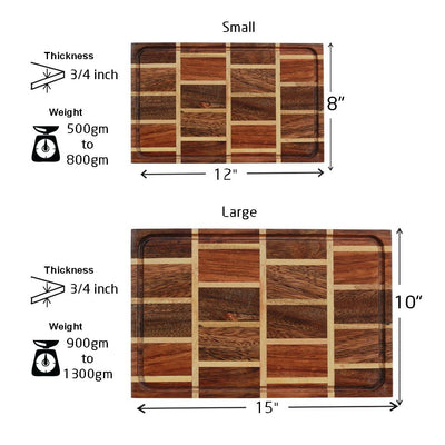Measurements for Juice Groove To Avoid Spillage - Brick Pattern Wooden Chopping Board - Woodgeek Store