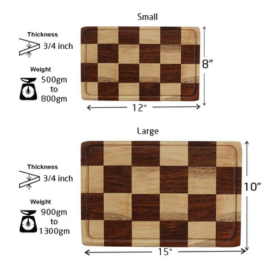 Measurements for Juice Groove To Avoid Spillage - ChessBoard Style Wooden Chopping Board - Woodgeek Store
