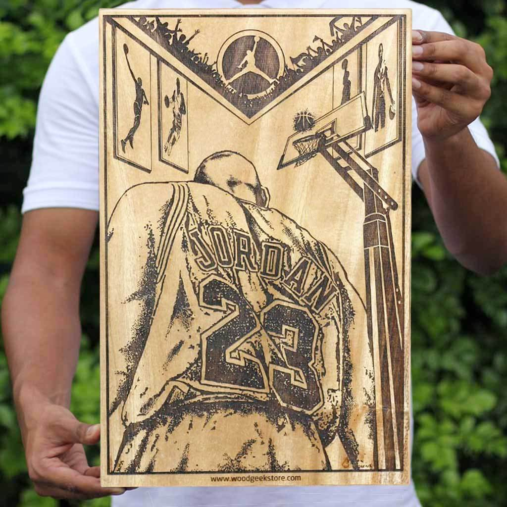 Michael Jordon Basketball Poster - Sports Wooden Poster - Wood Wall Decor - Gifts for Sports Lovers and basketball fans
