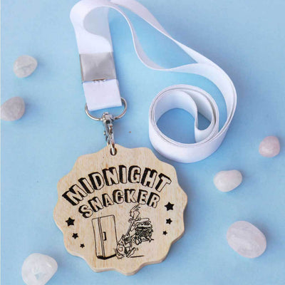 Midnight Snacker Funny Medal. This Custom Medal Is One Of The Best Funny Gifts For Foodies. Buy Unique Award Medals Online From The Woodgeek