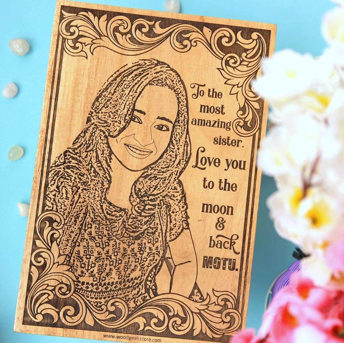 To The Most Amazing Sister. Love You To The Moon And Back. Looking for unique birthday gifts for your sister or rakhi gifts for her? This photo on wood will make the best gift for sister!