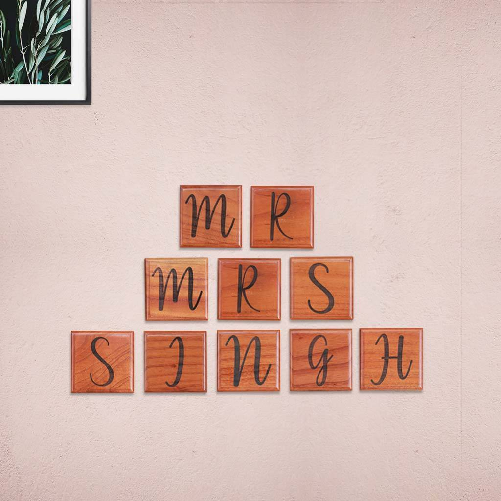Mr & Mrs Crossword Tiles & Scrabble Art - Home Decor by Woodgeek Store