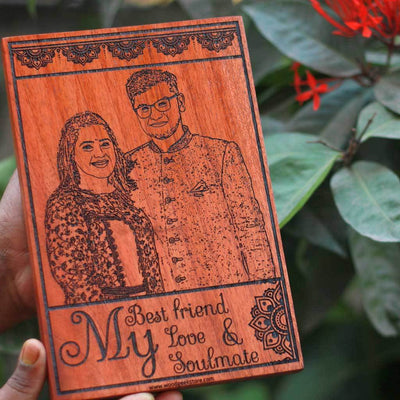My Best friend, My Love & My Soulmate Wooden Photo Frame - Carved Wooden Poster - Custom Wood Wall Art With Photo in Birch Wood - Woodgeek Store