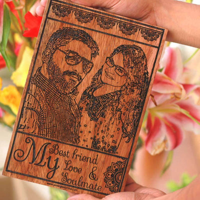My Best friend, My Love & My Soulmate Wooden Photo Frame - Carved Wooden Poster - Custom Wood Wall Art With Photo in Mahogany Wood - Woodgeek Store