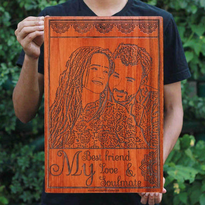 My Best friend, My Love & My Soulmate Wooden Photo Frame - Carved Wooden Poster - Custom Wood Wall Art With Photo in Beech Wood - Woodgeek Store