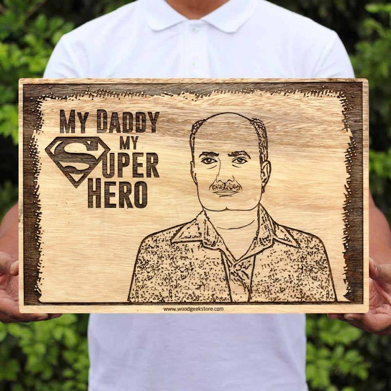 My Superhero My Dad - World's Best Dad - Wooden Picture Frames - Photo on Wood - Personalized Wood Wall Art - Best Personalized Gifts - Engraved Wooden Photo Frames - Gifts for Dad - Father's Day Gifts - Woodgeek Store