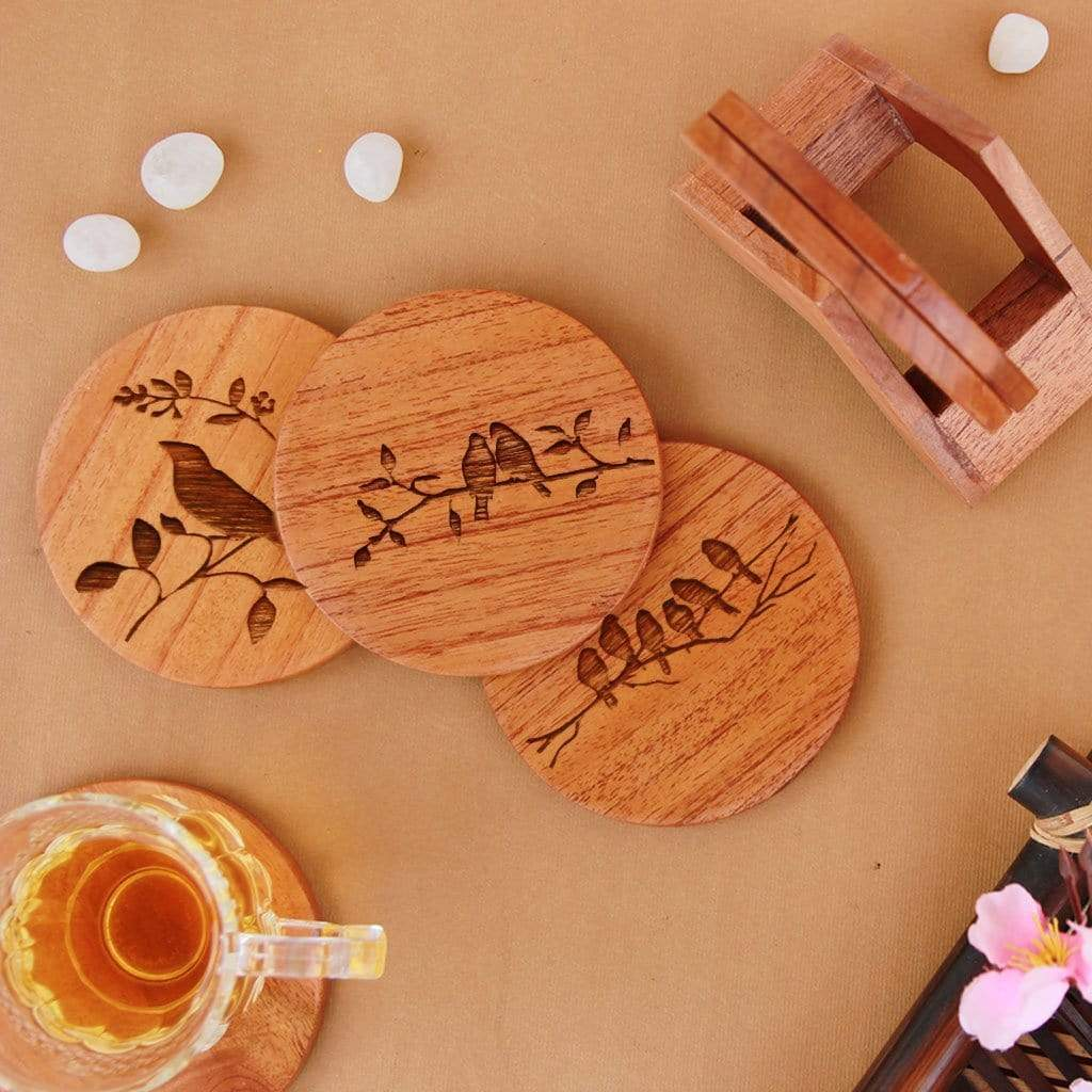 Nature Coaster Set. Wooden Coasters Engraved With Birds Make Great Gifts For Nature Lovers. Wooden Coasters Are Great Home Decor Gifts Or House Warming Gifts.