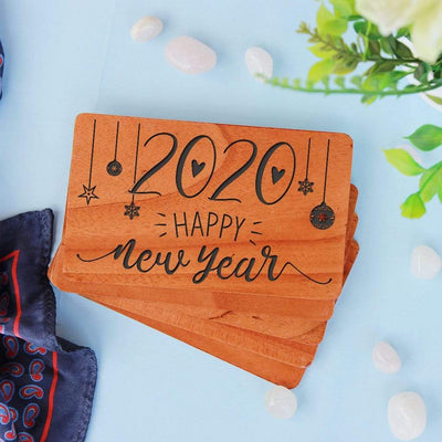 New Year Greeting Card: Set Of Personalized Wooden Cards Engraved With Happy New Year Wishes. New year greeting cards engraved with new year wishes for boyfriend, happy new year wishes for friends and family, new year wishes for husband