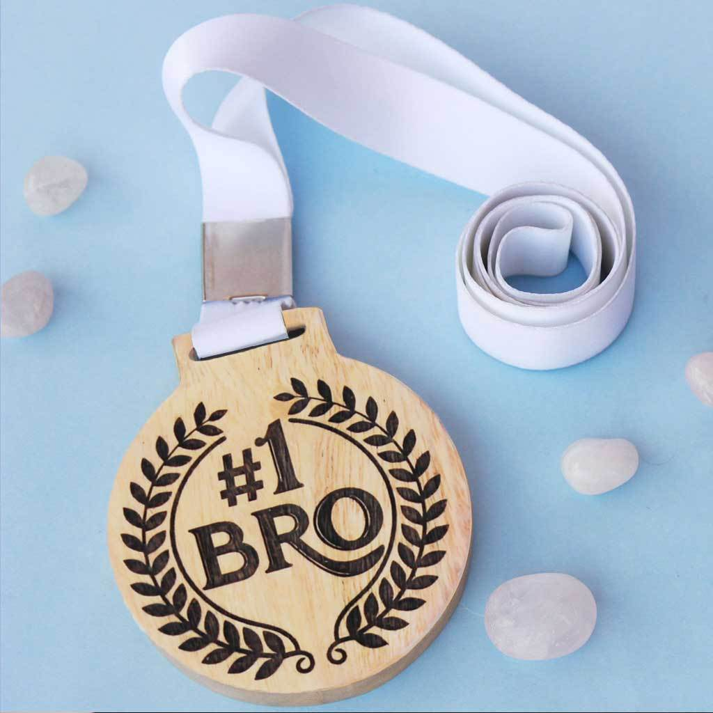 #1 Bro Wooden Medal With Ribbon - An Award For The Best Brother - Best Gifts For Brother