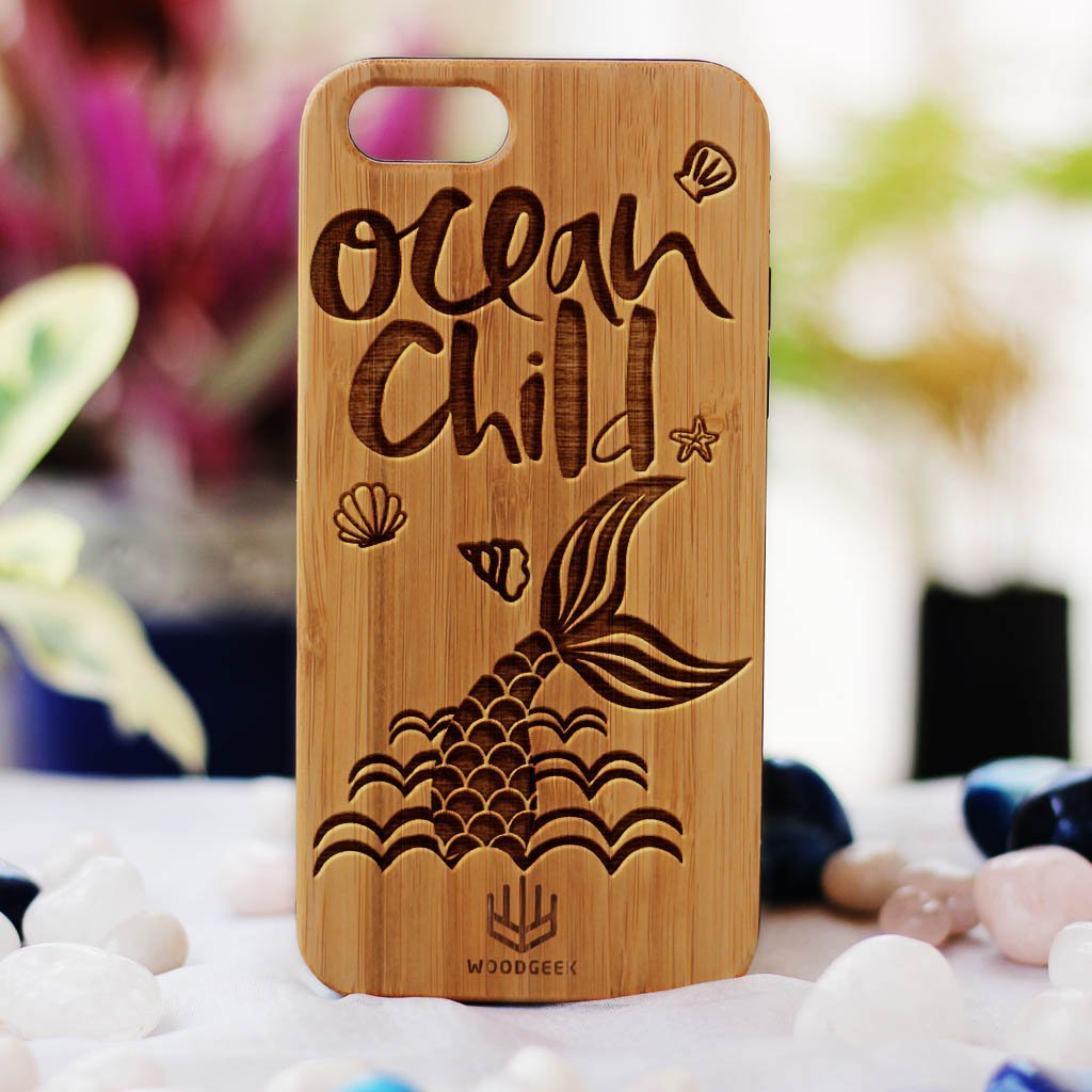 Ocean Child Wooden Phone Case - Bamboo Phone Case - Engraved Phone Case - Travel Phone Case - Woodgeek Store