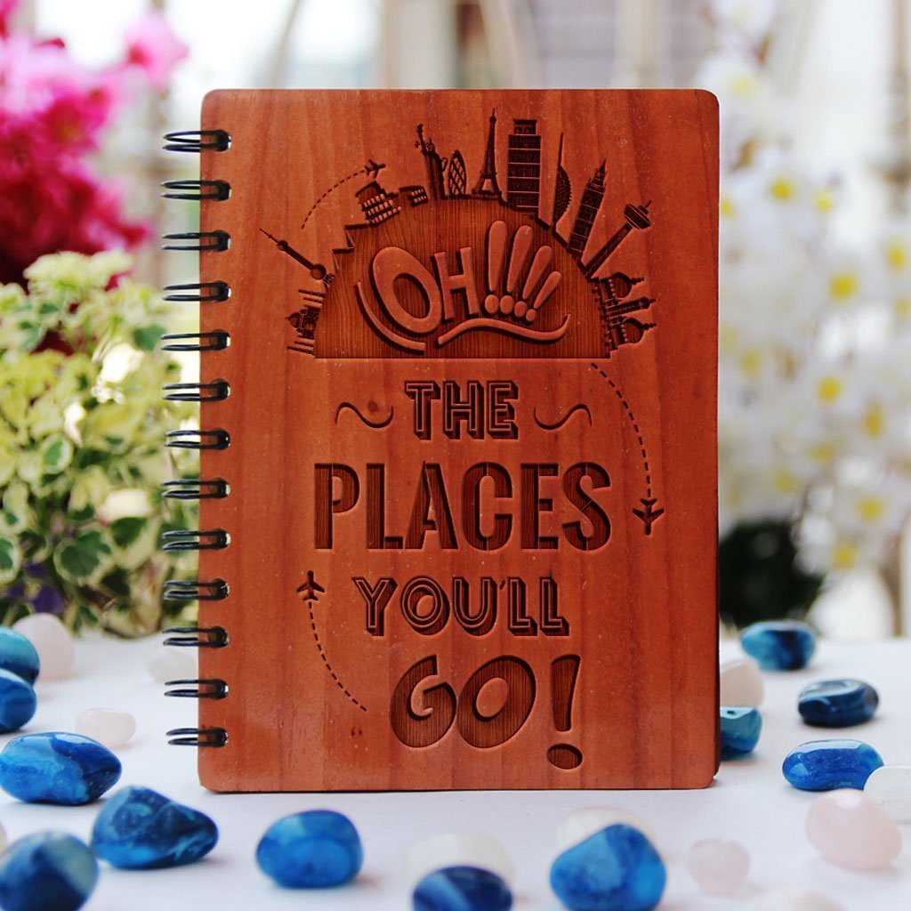 Travel Journal - Oh! The Places You'll Go - Personalized Wood Notebook - Bamboo Wood Notebook