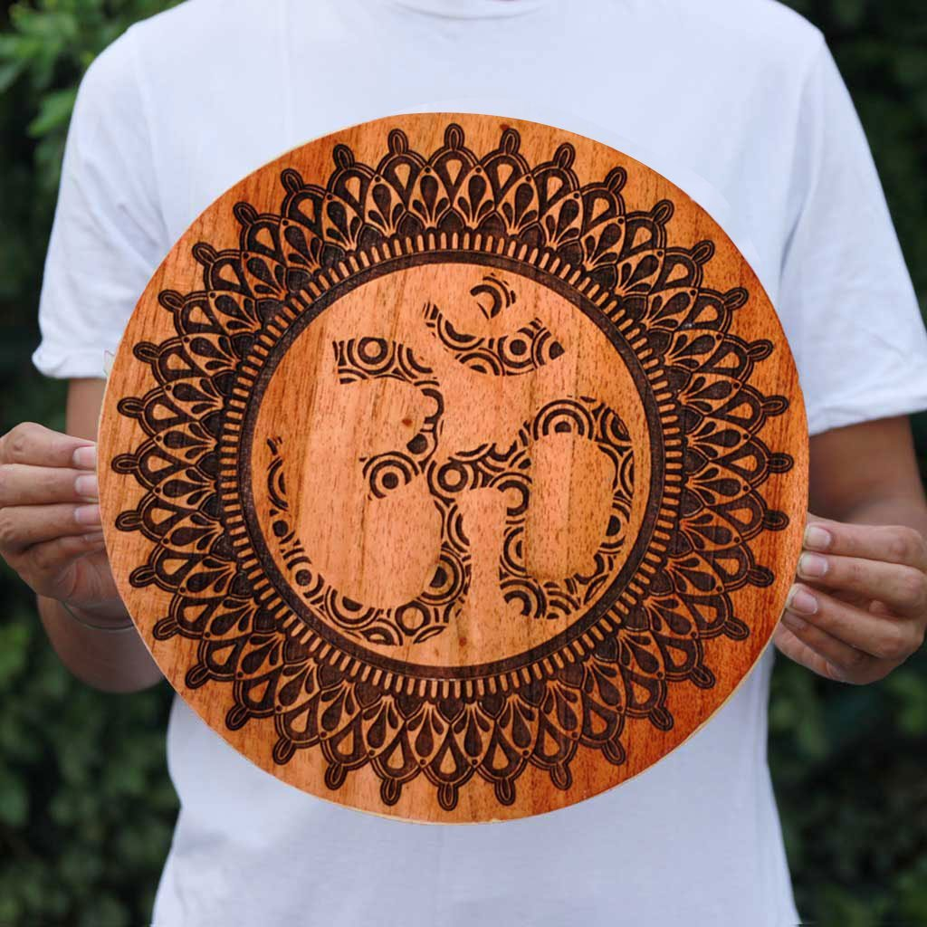 Om Wooden Poster by Woodgeek Store for Yoga Lovers - Hindu Symbol Wooden Artwork - Religious & Spiritual Wood Wall Hanging - Buy Wood Wall Art Decor Online